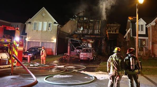 WHITBY -- Whitby fire crews battled a fire at 44 Merchants Ave. in Whitby, which started around 10 p.m. on Saturday, Nov. 14. The home was completely destroyed, along with two cars in the garage. No one was home at the time of the blaze, which caused an estimated $500,000 damage. November 14, 2015